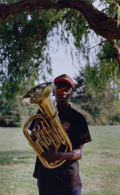 Romuald, young tuba player of the kimbanguist fanfare // Georges-Valbon Park - La Courneuve // August 2019